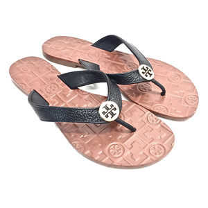 Tory Burch Thora Black Tumbled Leather Flip Flops